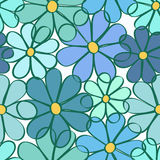 Seamless pattern of camomile flowers. Floral seamless pattern of blue camomile flowers Stock Photography
