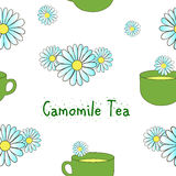 Seamless pattern camomile tea Royalty Free Stock Photography