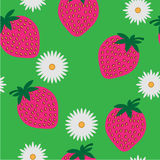 Seamless pattern with camomiles and strawberry Royalty Free Stock Photography