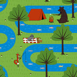 Seamless pattern camping animals. Royalty Free Stock Photography