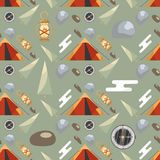 Seamless pattern with camping equipment and nature elements on a green background. stock illustration
