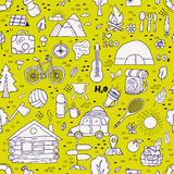 Seamless pattern of camping equipment symbols. Royalty Free Stock Photos