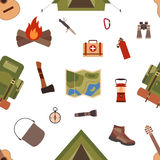 Seamless pattern camping equipment symbols. And icons made in vector Royalty Free Stock Photos