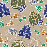 Seamless pattern of camping equipment white contour on beige background with stitch. Hand drawn tourist illustration Stock Photo