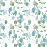 Seamless pattern of a camping,road,fox,wolf,bear in the woods. Royalty Free Stock Photos