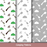 Seamless pattern on the camping theme, has three backgrounds. Royalty Free Stock Image