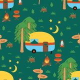 Seamless pattern with camping trailer in the night - vector illustration, eps vector illustration
