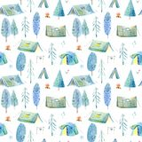 Seamless pattern of a camping in the woods.Tent, trees, bonfire, plants and floral. Landscape tourism.Watercolor hand drawn illustration.White background Royalty Free Stock Image