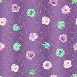Watercolor seamless floral background in purple and mint green colors. Seamless pattern can be used for scrapbooking, wedding, cards and so on Stock Images