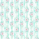 Watercolor striped seamless floral background in light purple and mint green colors. Seamless pattern can be used for scrapbooking, wedding, cards and so on Royalty Free Stock Photography