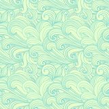 Green hand-drawn pattern, waves background. Royalty Free Stock Images