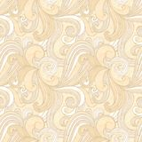 Beige hand-drawn pattern, waves background. Stock Images
