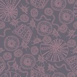 Seamless geometric pattern / Sea shells Stock Photo
