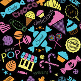 Seamless pattern with candies Black Background. Background. Watercolor illustration with candies Black Background Royalty Free Stock Images