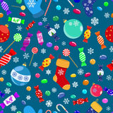 Seamless pattern of candies and Christmas symbols Royalty Free Stock Photo