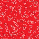 Seamless pattern with candies, ice cream, cakes and cups Royalty Free Stock Image