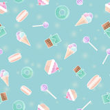Seamless pattern with candies. Print with sweets, flat design style. Seamless pattern with chocolate, ice cream, macarons, lollipops and cakes. Vector Royalty Free Stock Photos