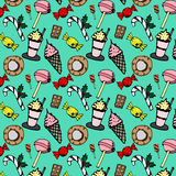Seamless pattern with candies and sweets Stock Photos