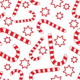 Seamless pattern with candy canes and stars Stock Image