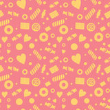 Seamless pattern with candy and cookies, food Stock Images