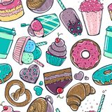 Seamless pattern with candy, donuts sweet icecream and other tasty elements. Seamless pattern with candy, donuts sweet icecream and other elements. Vector on Stock Image