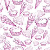 Seamless pattern with candy, ice cream and hearts Stock Image
