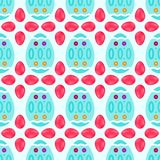 Seamless pattern of watery easter eggs with reddish stones. Seamless pattern of candy pink flowers with blue decorated eggs in watercolor style Royalty Free Stock Photo