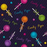 Seamless pattern candy pops Royalty Free Stock Photo