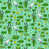 Seamless pattern with canes, herons and lillies. Swarm life. Royalty Free Stock Images