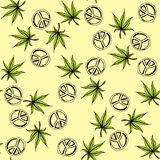 Seamless pattern cannabis and Pacific a symbol of the hippie. Hand drawing.Seamless pattern can be used for wallpaper, pattern fills, web page backgrounds vector illustration
