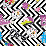 Seamless Pattern with Cap, Cat, Glasses, Thunder. Male rap cap, sport footwear, muzzle of cat, glasses, thunder sign, sticker, diamond, brilliant, hashtag, skull Royalty Free Stock Photo