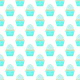 Seamless pattern with capcakes on a white background. Vector stock illustration