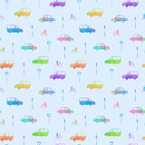 Seamless pattern with car, bike and traffic light. Royalty Free Stock Photography