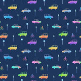 Seamless pattern with car, bike and traffic light.City picture. Royalty Free Stock Image
