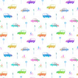 Seamless pattern with car, bike and traffic light.City picture. Royalty Free Stock Photos