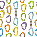 Seamless pattern with carabiners Royalty Free Stock Photo