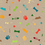 Seamless pattern for card, paper, scrapbook, wrapping, backdrop,texture. Pet background bones, paws trail, fishbones and Royalty Free Stock Photography