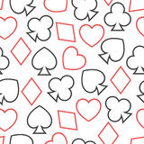 Seamless pattern with card suits, endless backgrou Royalty Free Stock Image