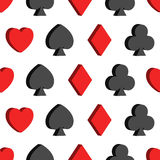 Seamless pattern with card suits, hearts, clubs, s Royalty Free Stock Photos