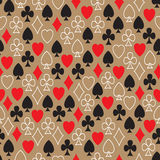 Seamless pattern with card suits randomly arranged Royalty Free Stock Images