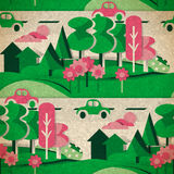 Seamless pattern of cardboard figures countryside in vintage. Style Stock Photos