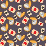 Seamless pattern with cards and the pocket watch . vector illustration