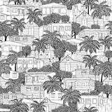Seamless pattern of Caribbean wooden stilt houses Stock Photos