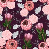 Seamless pattern with carnation, dusty miller, protea flowers, leaves and buds. vector illustration