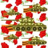 Seamless pattern Carnation Tank Defender of the Fatherland Day. Vector illustration stock illustration