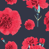 Seamless pattern carnations flower. Floral background. Wallpaper. Elegance pattern with realistic flowers. Vintage vector illustration, eps 8 Royalty Free Stock Photo