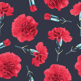 Seamless pattern carnations flowers. Floral background, wallpaper,  wrapping, packing paper. Elegance pattern with realistic red flowers. Vintage vector Stock Image