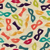 Seamless pattern with carnival accessories on Royalty Free Stock Photo