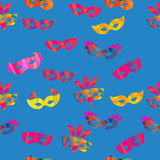 Seamless pattern with carnival masks stock illustration
