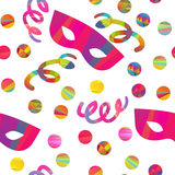 Seamless pattern with carnival masks Royalty Free Stock Photos